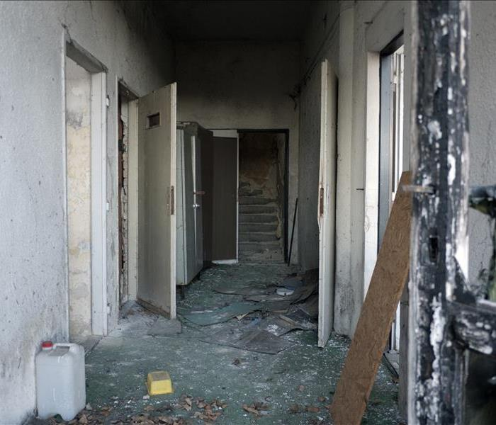 Inside of a building destroyed by fire, empty building